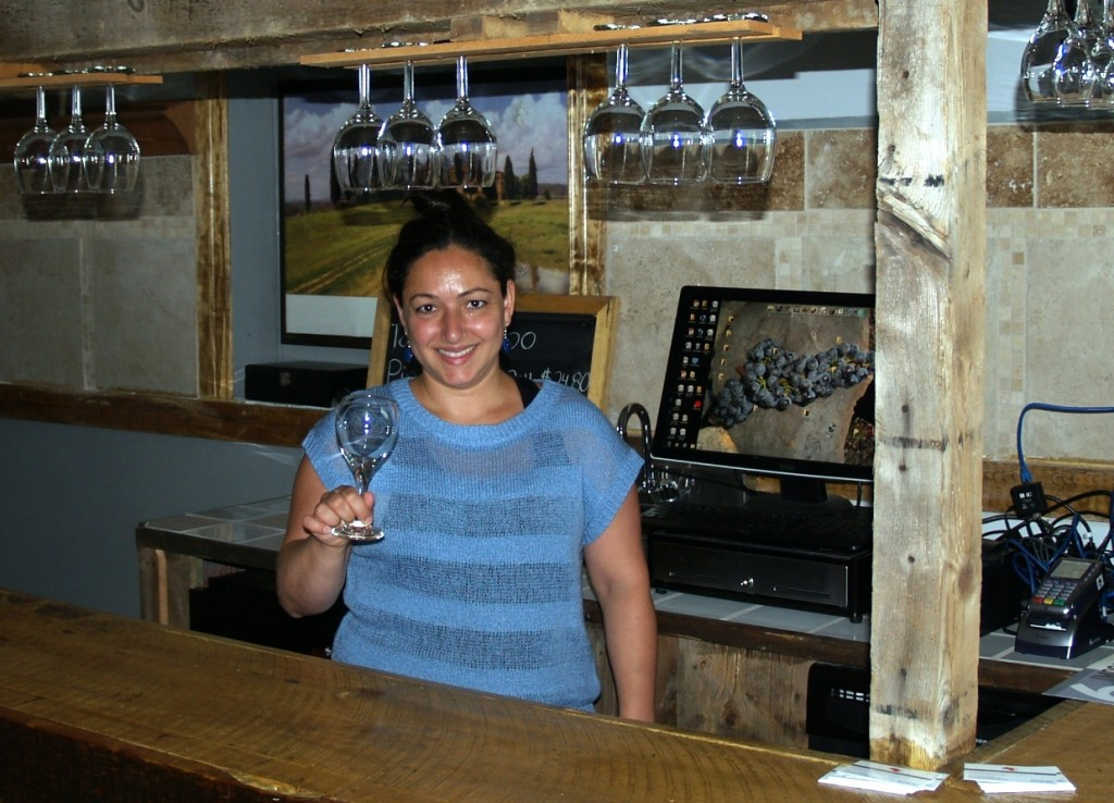 Daniela at the tasting bar, TerraCello Winery